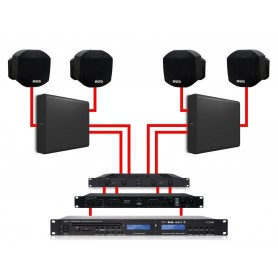 APART Sistema Audio da Parete Nero Dual Zone 360W