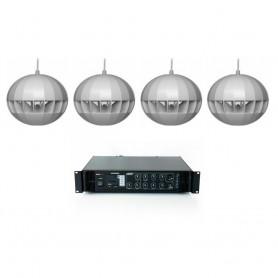 Impianto audio di filodiffusione sonora con 4 diffusori a sospensione e Amplificatore con sorgenti