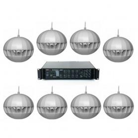 Kit per diffusione sonora con 8 diffusori a sospensione e Amplificatore MULTIZONA con sorgenti integrate